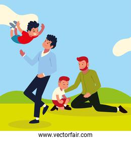 fathers playing with kids