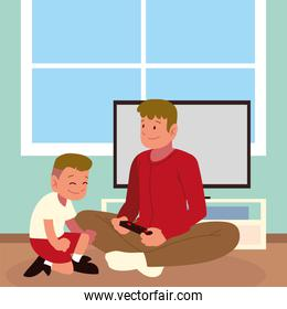 dad and son playing game