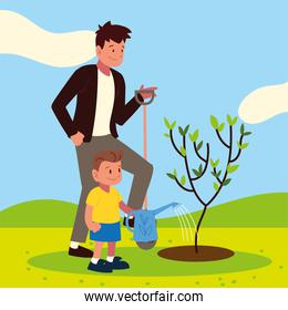 dad and son caring tree