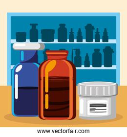 pharmacy shelves with medicines