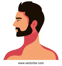 bearded man shirtless