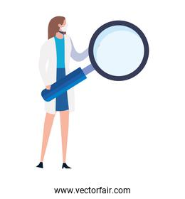female doctor with magnifying