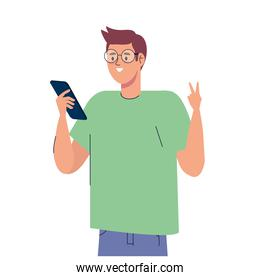 man influencer with smartphone