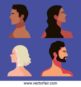 four interracial persons