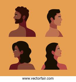 afro four persons