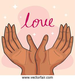 hands lifting love word