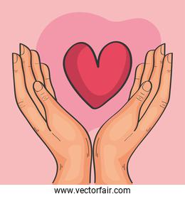 hands lifting heart