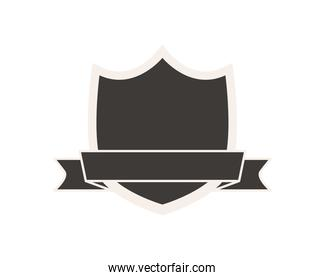 shield label with ribbon