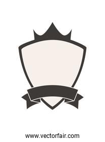 shield label with crown and ribbon