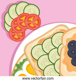toasts with cucumbers and tomatoes