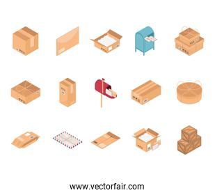 packaging box icons set