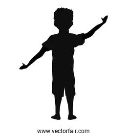 boy silhouette with hand up