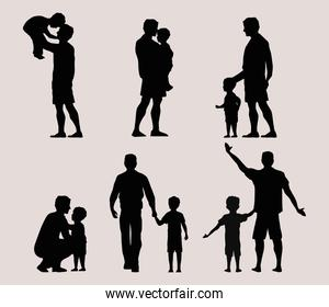 six fathers silhouettes