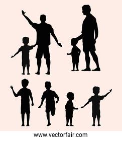 two fathers silhouettes