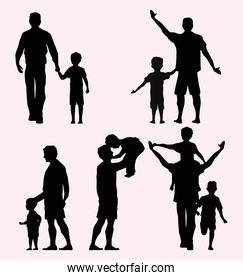 five fathers silhouettes