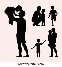 three fathers silhouettes