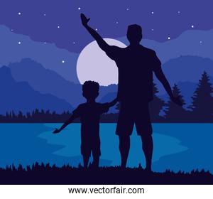 father and son at night