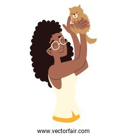 woman playing with his cat