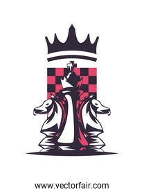 King and knight chess pieces with crown