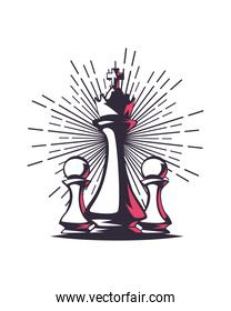 King and pown chess pieces