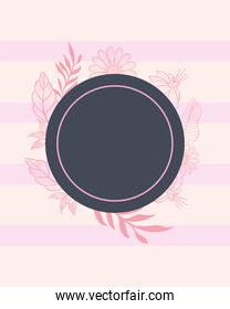 label circle with pink leaves and flowers