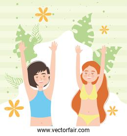 women cartoons with leaves