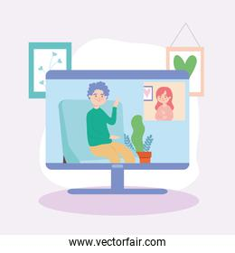 Man and woman in video conference