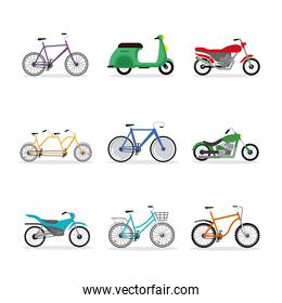 nine bikes and motorcycles vehicles