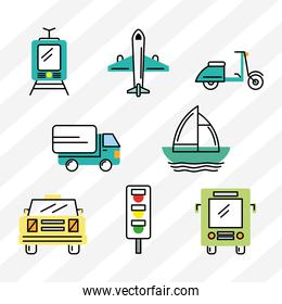 eight transport icons
