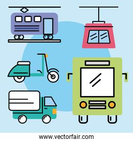 transport five icons