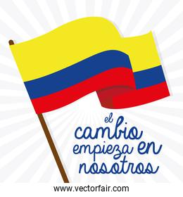 Colombia flag text