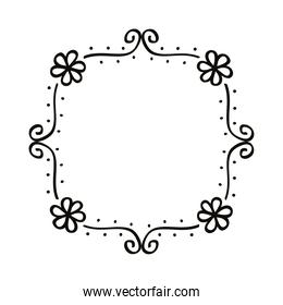 square draw floral frame