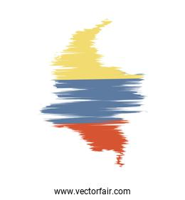 colombian map with flag