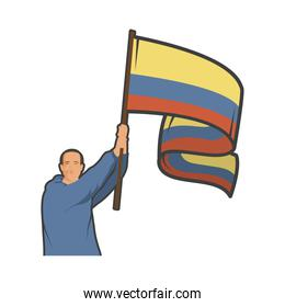colombian with flag
