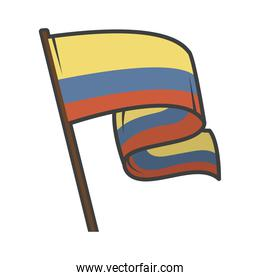 colombia flag in pole
