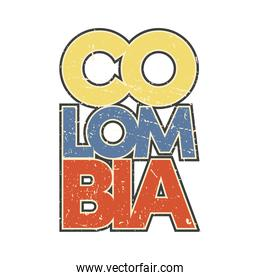 colombia flag in lettering