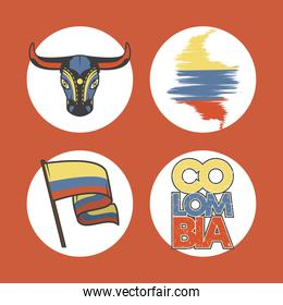four colombia icons