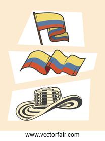 three colombia icons