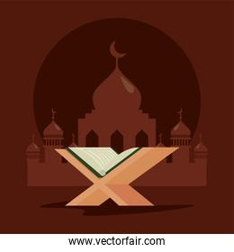 mosque and quran book