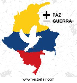 colombia map with dove