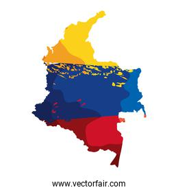 map with colombian flag