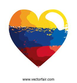 heart with colombian flag