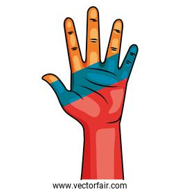 hand with colombian flag