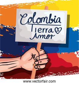 colombian with banner