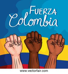 colombians protesting in flag