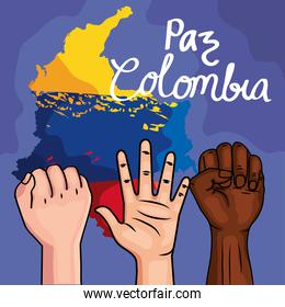 protesters with colombian map