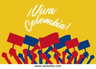 colombians protesting hands