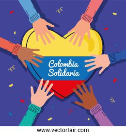 hand with colombian heart