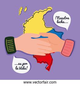handshake and colombian map
