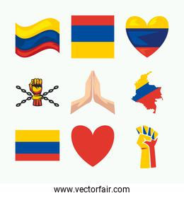 nine colombians protest icons